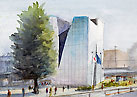Sumida Hokusai Museum / Watercolor Sketch 「すみだ北斎美術館」水彩スケッチ