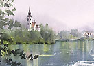 The Church On The Island Watercolor 湖上の教会 水彩